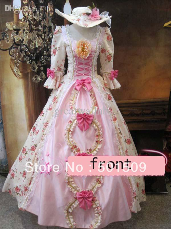 medieval renaissance gown rose dress with hat vampire