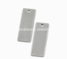 Chinese  Free Shipping! Stainless Steel Blank Stamping Tags Pendants Rectangle Silver Tone 25x9mm,20PCs (B22464) jewelry making DIY findings manufacturers