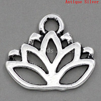 Wholesale Lotus Flower Jewelry Gold - Free Shipping! Charm Pendants Lotus Flower Antique Silver 17x14mm,30PCs (B23371) jewelry making DIY findings hot sale