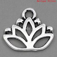 lotus çiçek satışı toptan satış-Ücretsiz kargo! Charm Kolye Lotus Çiçeği Antik Gümüş 17x14mm, 30 Adet (B23371) takı yapımı DIY bulgular sıcak satış