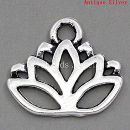 Wholesale Lotus Wholesale - Free Shipping! Charm Pendants Lotus Flower Antique Silver 17x14mm,30PCs (B23371) jewelry making DIY findings hot sale