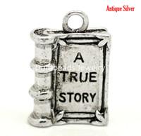 "Wholesale Antiques Books - Free Shipping! 24PCs Antique Silver ""A TRUE STORY"" Book Charm Pendants 18x12mm(3 4""x1 2"") (B18397)"