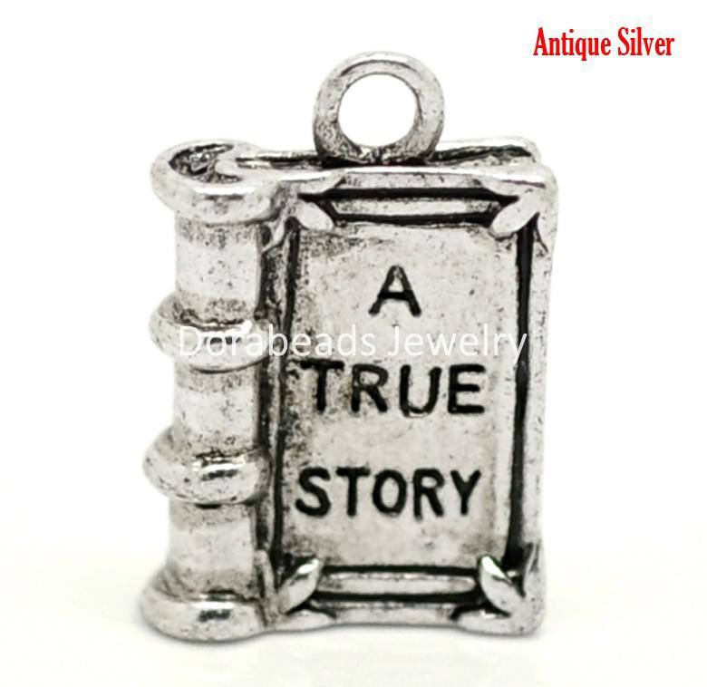 "Free Shipping! 24PCs Antique Silver ""A TRUE STORY"" Book Charm Pendants 18x12mm(3/4""x1/2"") (B18397)"