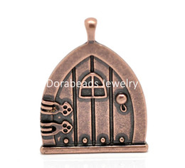 "Wholesale Door Charms - Free Shipping! 10PCs Copper Tone Fairy Wish Door Charm Pendants 35x27mm(1 3 8""x1 1 8"") (B20115)"