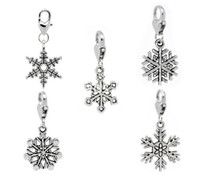 Wholesale Wholesale Snowflake Charms Free Shipping - Free Shipping! 30 Christmas Snowflake Clip On Charm Fit Chain Bracelet (B11041) jewelry making gift findings DIY wholesale