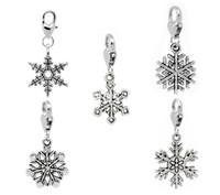 ingrosso catene di sculture di gioielli-Spedizione gratuita! 30 Christmas Snowflake Clip On Charm Fit Chain Braccialetto (B11041) gioielli che fanno scoperte regalo fai da te all'ingrosso