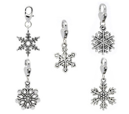Wholesale holiday snowflakes - Free Shipping! 30 Christmas Snowflake Clip On Charm Fit Chain Bracelet (B11041) jewelry making gift findings DIY wholesale