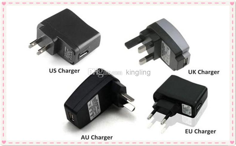 USB Charger or Wall Charger for Electronic Cigarette E-cigarette E-cig EGO-T EGO Adapter USB Or US UK EU AU Wall Charger Plug