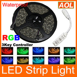 Wholesale Cheap Leds Lights - Cheap high brightness RGB Flexible LED Strip Lights 16ft Waterproof 5050 SMD 300 leds 3Keys Controller No Power adapter DHL Free shipping