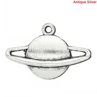 Wholesale Planet Pendant - Free shipping Charm Pendants Saturn Planet Antique Silver 13x20mm,100PCs (K03318) jewelry making DIY findings hot sale