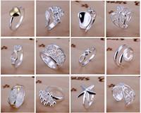 encomendas encantos venda por atacado-Chegam novas 925 jóias de prata 50 pçslote Charme mulheres meninas finge anéis Multi Estilos Anéis Mix tamanho ordem da mistura Venda Quente