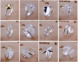Wholesale Hot Sale Rings - New Arrive 925 silver jewelry 50pcs lot Charming Women girls finge rings Multi Styles Rings Mix size & mix order Hot Sale