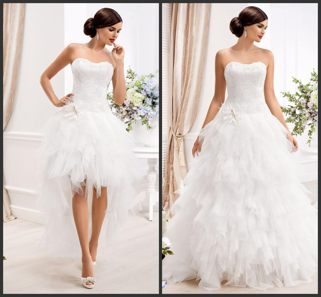 2014 Ball Gown Tulle Modest Puffy Wedding gown Detachable Strapless Sleeveless Short Wedding dresses On sale