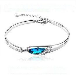 Wholesale Cuff Bracelet Swarovski - 2015 Valentine Gifts New Bracelets Fashion Crystal Bangle for Girls Lady Women Solid Silver Charm Swarovski Elements Jewerly DHL free ship