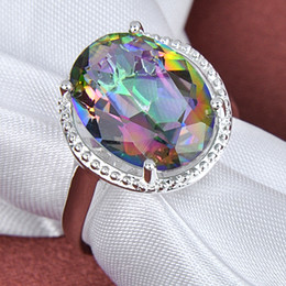 Wholesale Sterling Silver Rhinestone Rings - Wholesale - Fashion new 925 sterling SILVER Pretty and colorful Natural Mystic topaz gemstone Ring CR0369