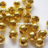 Wholesale Gold Spacers Mixed - Wholesale - (Min.order 10$ mix) gold Plated round ball metal spacer beads 4mm 500pcs