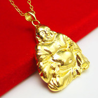 buddha gold plattenkette großhandel-Unsere Schmuck Gold Halskette und vergoldet Anhänger Anhänger Nachahmung Goldschmuck Bauch Buddha Maitreya Geschenke