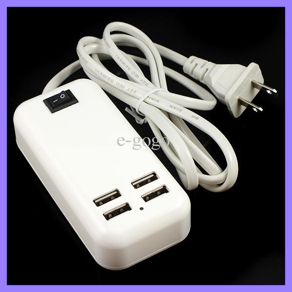 4 puertos USB cargador de viaje 5V 3A 15W cargador de pared USB cargador de escritorio cargador EE.UU. enchufe de la UE con el interruptor 1.5m cable para iphone ipad Samsung