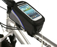 Wholesale bicycle frame handle - Free Shipping New Waterproof Bicycle Phone Bag Bicycle Frame Pannier Front Tube Bag For 4.2 inch Cell Phone Bicycle Accessories