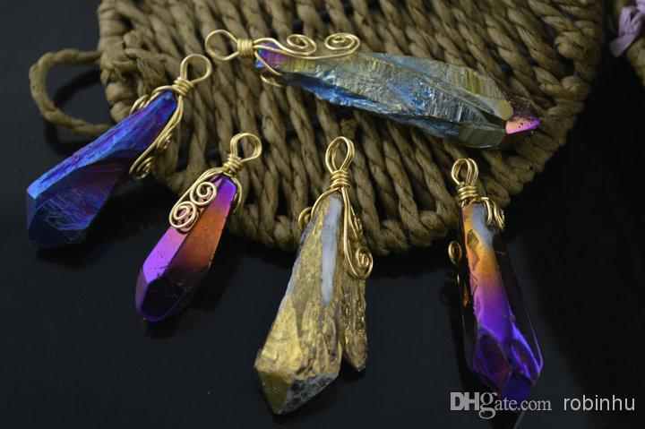 Rough stone point pendants wire wrapped natural crystal rough stone point pendants wire wrapped natural crystal electroplating quartz for necklace or earring making diy fashion jew crystal point pendants stone mozeypictures Choice Image