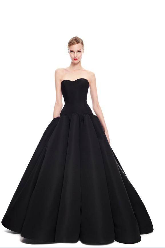 Zac Posen Black Stain Strapless Prom Dresses Backless Floor Length ...