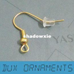 Wholesale Pcs Earring Hook - Wholesale - 1000 PCS LOT 18 K Gold Plated Surgical Steel Hypo-Allergenic Earring Hooks Earring Findings Nickel Free
