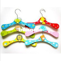 Wholesale Wooden Coat Tree Wholesale - 20pcs lot Freeshipping! wood Wooden children cartoon animal clothes hangers Clothes tree coat hanger, clothes rack,
