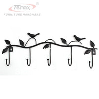 Wholesale Wall Coat Hanger Iron - Black Bird Rustic Country Handmade Cast Iron Coat Hat Hook Wall Hanger Decorative Rack with 5 Hooks