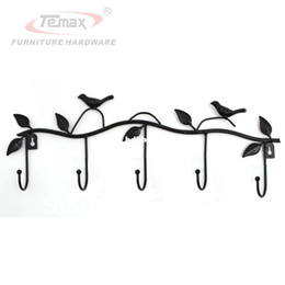 Wholesale Rustic Hooks - Black Bird Rustic Country Handmade Cast Iron Coat Hat Hook Wall Hanger Decorative Rack with 5 Hooks