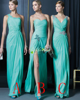 Wholesale Dress Mix Order - 2015 New Arrival Mint Prom Dresses Under 100 A Line Chiffon Bridesmaid Dresses Cheap Pleats Mix order 3 style Brides Maid Dresses
