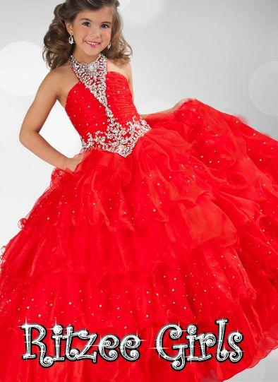 New Fashion Red Halter Beads Ritzee Girls PAGEANT Party Prom Wedding Gown Evening Homecoming Dresses