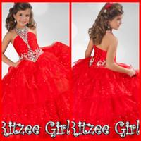 rote ritzee festzug kleider großhandel-New Fashion Red Halter Perlen Ritzee Mädchen SEITENANHÄNGER Party Prom Brautkleid Abend Homecoming Kleider