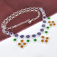 Wholesale Rare Crystal Pendant - Rare Remarkable Delicate Lady Jewelry Lovely Purple amethyst, Brazil citrine 925 Silver Chain Necklace CN0476