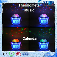 Wholesale Christmas Gift Decoration Music Starry Star Sky Projection Alarm Clock Calendar Thermometer with retail package best gift freeshipping wu