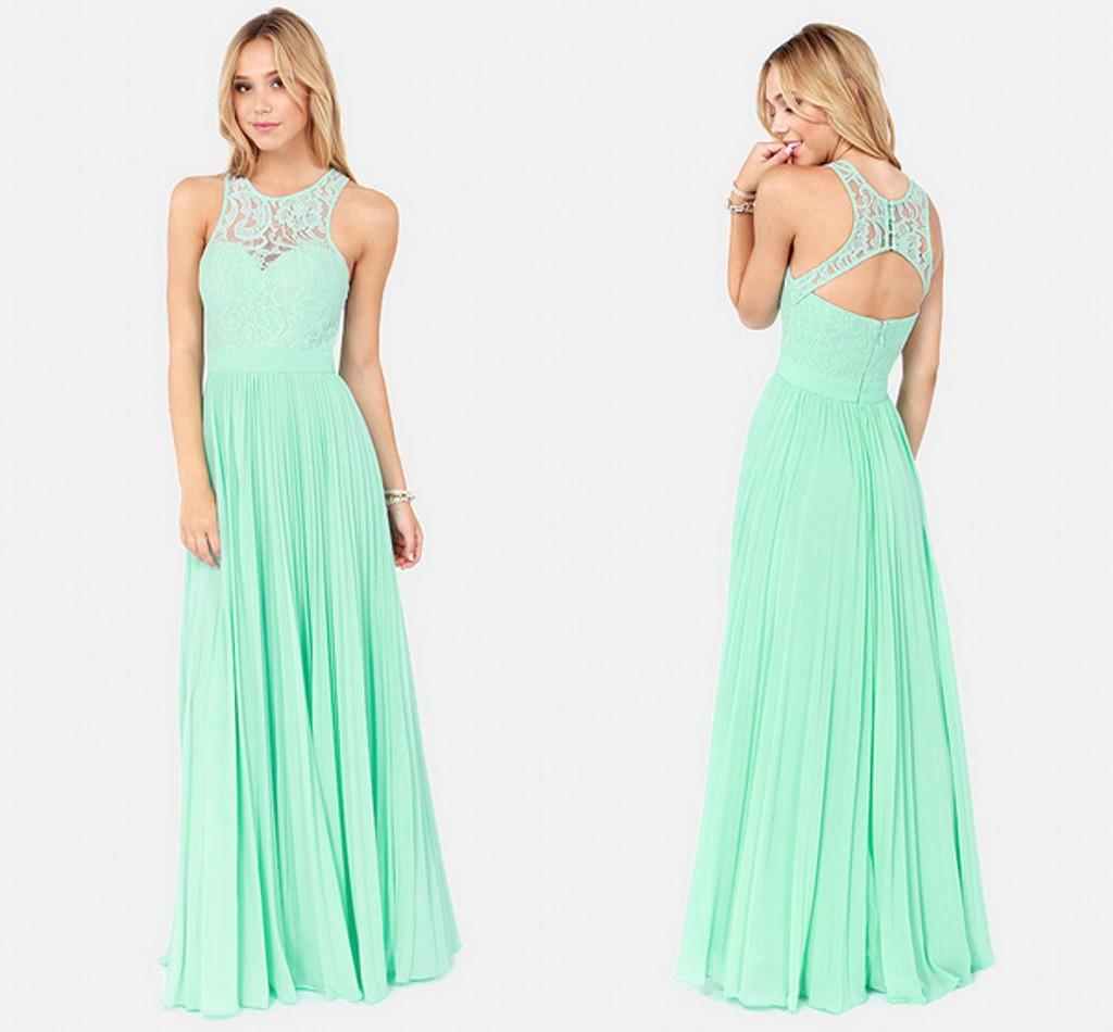 Charming 2015 Mint Green Bridesmaid Dresses Long Lace Chiffon ...