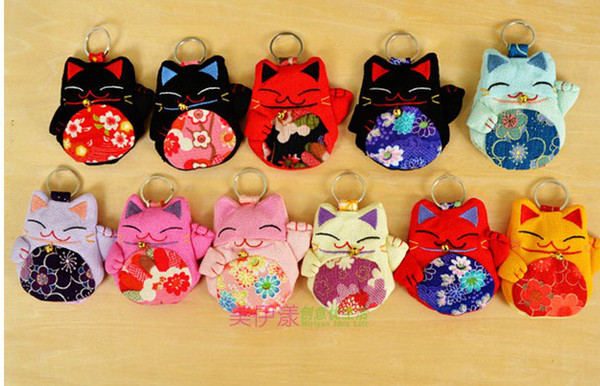 Япония fortune cat ключи сумка Plutus cat lucky Cat ключевые кошельки мультфильм креп ключевые сумки кошелек кошелек с кольцом для ключей колокола красочные
