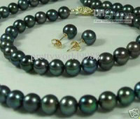 14k schwarze perlenohrringe großhandel-Best Buy Perlenschmuck Set 8-9mm Schwarz Akoya Perlen Halskette Armband Ohrring 14k