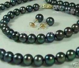 Deutschland Best Buy Perlenschmuck Set 8-9mm Schwarz Akoya Perlen Halskette Armband Ohrring 14k supplier 9mm bracelets Versorgung