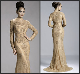 Wholesale Cheap Formal Dresses Free Shipping - 2014 cheap sexy sheath A line formal evening dresses lace long sleeve sweep train zipper crew free shipping custom made