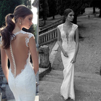Wholesale Cowl Neck V Back - Lace Sheer Backless Berta Wedding Dresses Bridal Gowns Applique Sexy Deep V Neck Cap Sleeves Sweep Train Formal White 2016 Gowns