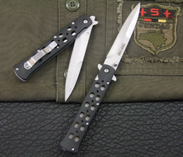Wholesale Christmas Gift Pocket Knife - Drop shipping Cold Steel Zy-Ex Ti-Lite 26S 26SB Folding Survival blade knife Sliver edtion pocket Knife Double edge knives Christmas gift