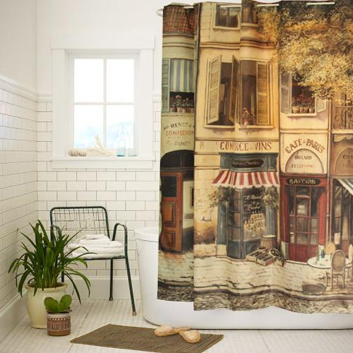 High Quality Polyester Cloth Print Vintage Bathroom Shower Curtain Paris Style Coffee House