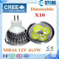 Hochleistungs-dimmable MR16 GU10 E27 B22 E14 GU5.3 4x3W 12W Scheinwerfer-Lampe 4 CREE LED 12V Glühlampe Downlight wu
