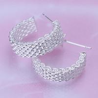 Wholesale Wholesale Fashion Mesh Hoop Earrings - stunning 925 silver mesh hoop earrings Christmas gift 925 Sterling Silver Fashion Earrings