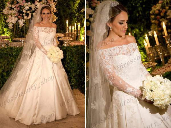 Satin Ball Gown Wedding Dress: 2014 Elegant Satin Ball Gown Wedding Dresses Vestidos De