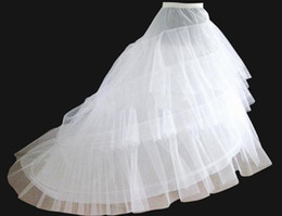 Wholesale Cathedral Petticoats - 2015 in stock free shipping hot sale White 3-Hoop 2-Layer Wedding Bridal Petticoat Crinoline Underskirt with train Wedding Petticoats