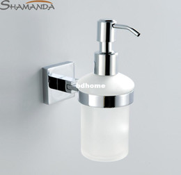 Wholesale Finish Glass - Free Shipping Soap Dispenser Lotion Dispenser,Brass Base With Chrome Finish+Frosted Glass Container,Bathroom Accessories-99013