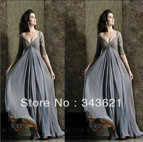 Plus Size Evening Dress Deep V Neck Lace Chiffon Sleeves Long Grey ...
