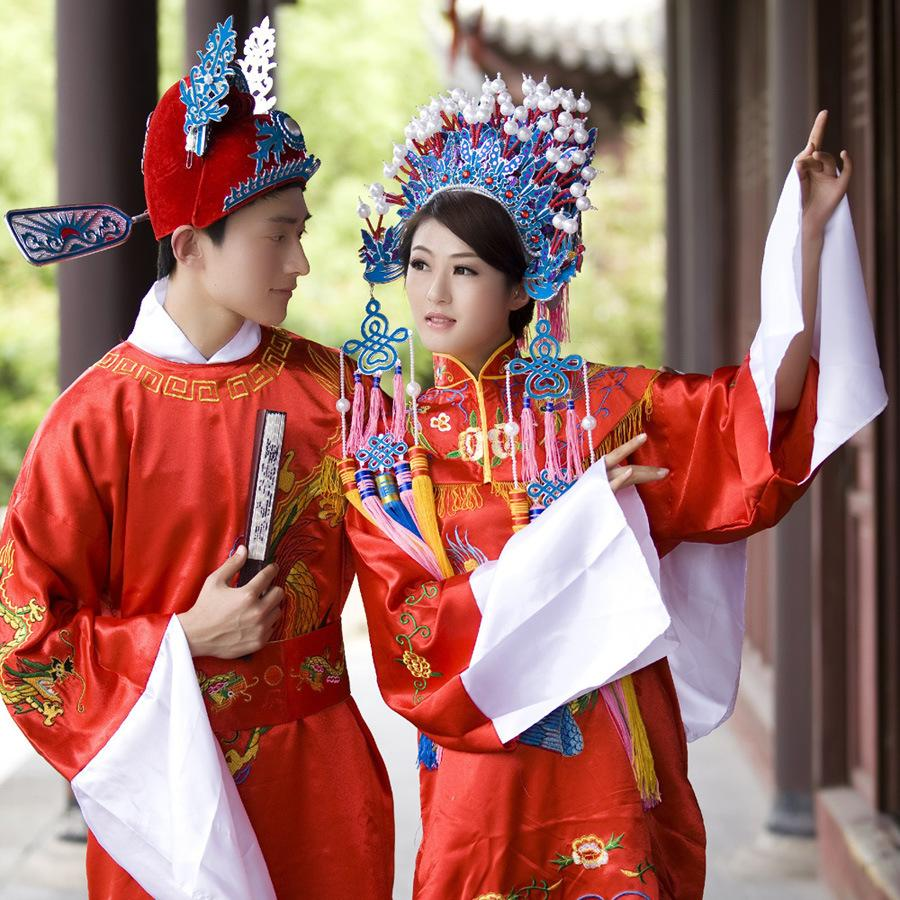 Wedding Costumes for bride bridegroom Chinese costume Traditional Chinese ethnic clothing Stage costumes bride dress bridegroom costumes 01