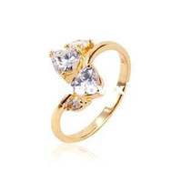 Commercio all'ingrosso - Ladies 'cuore di stile 24K placcato oro giallo 1.8 CT taglio brillante grado AAA cubico zircone Diamond Engagement Ring (110.730-03)